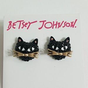 Betsey Johnson Black Cat stud earrings